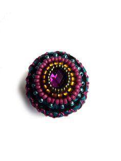 ••• Häkelring mit Spiegelglas-Cabochon ••• von crochet.jewels auf DaWanda.com