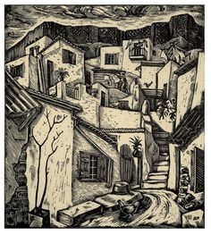 Anafiotika. 1940. Efthimios Papadimitriou. Greek Paintings, Scratchboard, 10 Picture, Greek Art, Wood Engraving, Color Of Life, Linocut Prints, Art Forms, Contemporary Art