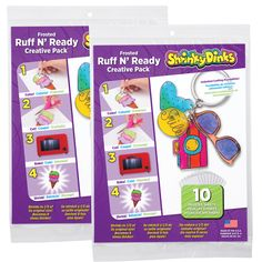 Shrinky Dinks Frosted Ruff n' Ready lets you make unique plastic pieces that look like frosted glass. Just draw or trace an image on the sheet then color, bake and shrink. Make charms, keychains, ornaments, jewelry, toys or anything you can imagine. Create one-of-a-kind items or mass produce your original image for everyone. The pack …