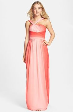 Love this for my sisters and bestie for wedding! ML Monique Lhuillier Bridesmaids Ombré Twist Shoulder Chiffon Gown (Nordstrom Exclusive) available at Wedding Suits, Wedding Attire, Wedding Bridesmaids, Bridesmaid Dresses, Prom Dresses, Wedding Dresses, Monique Lhuillier Bridesmaids, Ml Monique Lhuillier, Chiffon Gown