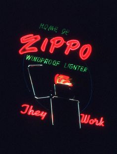 This Neon sign sits on top of our corporate headquarters in Bradford, PA.    Zippo Neon Sign by Todd Evans, via Flickr