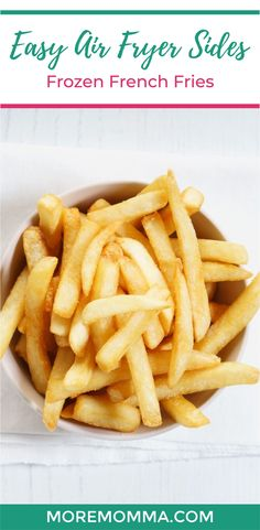 Air fryer frozen french fries are quick and easy to make and are crispy and healthy. Avoid letting your oven heat up the kitchen and expect tons of compliments from your family and friends when you serve these for dinner or at your next backyard bbq party! #backyardbbq #airfryer #frenchfries #easysidedish