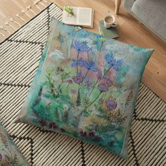 Garden Floor, Garden S, Large Cushions, Weird Holidays, Mixed Media Painting, Meaningful Gifts, Pillow Design, Top Artists, Watercolor Paper