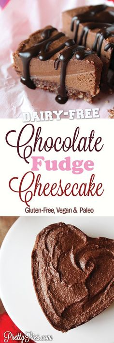 """Triple chocolate fudge """"cheesecake""""! Velvety fudge on a chewy chocolate crust! DIVINE. And made with whole-food ingredients. (No gluten, grains, dairy, eggs, soy or refined sugar!) Perfect for Valentine's Day or any celebration #vegan #paleo with a #lowcarb option - from PrettyPies.com"""