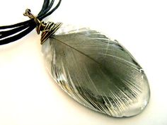 Blue Peacock Feather Wire Wrapped Nature Resin Pendant by PrismGypsy