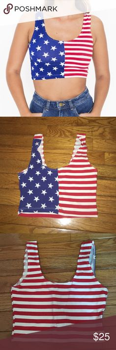 AA cropped American flag tank top ✨✨American Apparel Cotton Spandex crop tank. NWOT. Perfect for Fourth of July or a party. Very flattering. Price is flexible, make offers!✨✨ American Apparel Tops Tank Tops