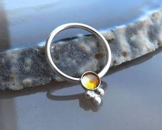 Septum Piercing Septum Ring Citrine Septum Ring Silver