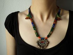 beaded statement necklace - with persimmon red burgundy brown indigo blue and green beaded flowers cotton fibers and kuchi pendant by irregularexpressions