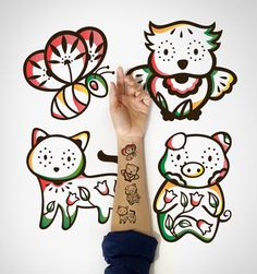 4 in 1 set  Kids Temporary Tattoo Cat Piggy Owl and bee by EasternCloud, cute Temporary Tattoos for Kids are here, illustrated beautifully and great for those birthday sessions or goodies bag.