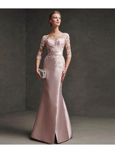 Mermaid 3/4 Length Sleeves Illusion Neckline Lace Satin Long Prom Evening Dresses 2103040