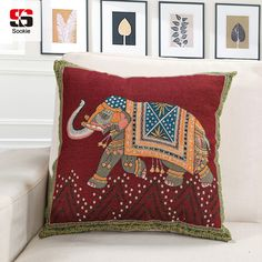 Sookie Animal Cushion Cover High Quality Boho Elephant Embroidery Cotton Car Sofa Decorative Linen Throw Pillow Case Decorbox #Affiliate