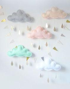 Guirlande nuages en tissu