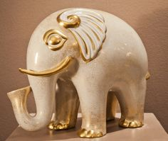 Porcelain Elephant, painted gold