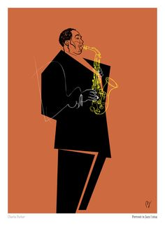 Charlie Parker Bar Music, Music Wall, Jazz Club, Jazz Artists, Music Artists, Jazz Poster, Jazz Funk, Music Illustration, Music Painting