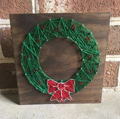 Christmas Wreath String Art Wood Sign