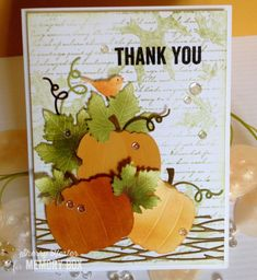 Hi everyone! Sherry here to start your weekend off with an autumn card. I'm sure ready for Fall, aren't you?  I inked the Drifting Oak Leaves background stamp with Peeled Paint Distress Ink, stamped o