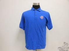 Mens True Fan Chicago Cubs 3 Button Polo Shirt sz M Medium SEWN MLB NL Blue Red #TrueFan #ChicagoCubs  #tcpkickz