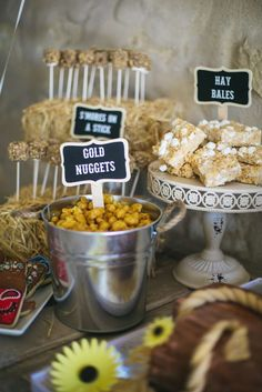 Fun snacks at a cowgirl birthday party! See more party planning ideas at CatchMyParty.com!