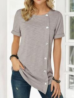 Buttoned Solid Casual Shirts & Tops - Khaki S Casual T Shirts, Casual Tops, Stylish Shirts, Cheap Womens Tops, Short, Types Of Sleeves, Shirt Blouses, Long Sleeve Shirts, T Shirts For Women