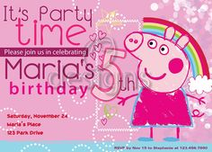 Peppa the Pig Digital Party Invitation No 3 by Odesigns on Etsy, €9.00
