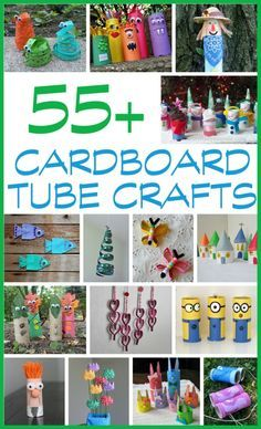 Cardboard Tube Crafts: a collection of cardboard tube crafts for kids! HOURS of fun for the kids! Cardboard Tube Crafts for Kids Craft Activities For Kids, Preschool Crafts, Projects For Kids, Craft Projects, Craft Ideas, Literacy Activities, Cardboard Tube Crafts, Toilet Paper Roll Crafts, Cardboard Rolls