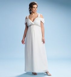 Celine Chiffon Wedding Dress  #Wedding Dress   http://www.planetgoldilocks.com/plussize_clothing