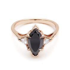 Black Diamond Marquis Bea engagement ring unique alternative rose gold – Anna Sheffield Jewelry