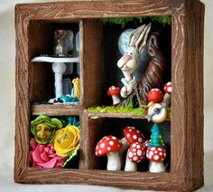 Handmade Polymer clay Alice in Wonderland Shadow Box, Now I just need somewhere to put it!