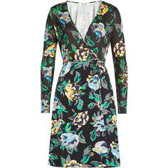 Diane von Furstenberg Printed Silk Wrap Dress ($500) ❤ liked on Polyvore featuring dresses, multicolored, silk floral dress, wrap dresses, bodycon wrap dress, mini dress and silk bodycon dress