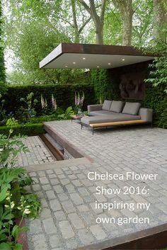 chelsea flower show 2016 Support the husqvarna garden. This modern landscaped backyard has a raised outdoor lounge deck, a wood burning firepit, succulents, bamboo and a vegetable garden. Contemporary Garden Design, Modern Landscape Design, Modern Landscaping, Backyard Landscaping, Landscaping Ideas, Modern Backyard, Garden Modern, Backyard Patio, Backyard Ideas