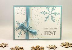 www.zeit-zum-basteln.de - einfache Weihnachtskarte mit schiefergrau und lagunenblau und 'Winterliche Weihnachtsgrüße' (Stampin Up)