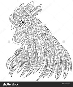 Rooster Head In Zentangle Style. Symbol Of Chinese New Year Adult Anti Stress Coloring Page. Black And White Hand Drawn Doodle For Coloring Book Stock Vector Illustration 485938363 : Shutterstock Chicken Coloring Pages, Farm Animal Coloring Pages, Coloring Book Pages, Rooster Art, Printable Adult Coloring Pages, Chicken Art, Mandala Coloring, Doodle Coloring, Painting Patterns