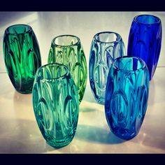 Sklo Union Lens vases. Designed by Rudolf Schrötter in the 1950s. Made in Czechoslovakia.    such pretty glasses.. i'd love to learn how to do that.