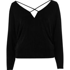 River Island Black cold shoulder strappy batwing top (€18) ❤ liked on Polyvore featuring tops, shirts, sweaters, long sleeves, black, bardot / cold shoulder tops, women, batwing sleeve shirt, strappy top and long sleeve tops