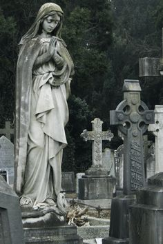 Cemetery by ShotsAtRAndom Cemetery Monuments, Cemetery Statues, Cemetery Headstones, Old Cemeteries, Cemetery Art, Angel Statues, Graveyards, Mujeres Tattoo, Cemetery Angels