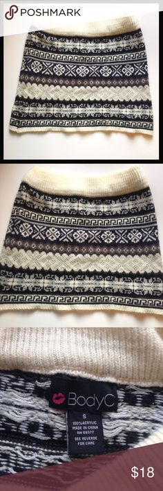 Gorgeous geometric print knit body con skirt Tan, navy, brow, olive, and cream colored geometric print body con skirt. Warm sweater material, very stretchy and soft. Some pilling from wash, but only worn a few times so I'm very good condition! Body Central Skirts Mini