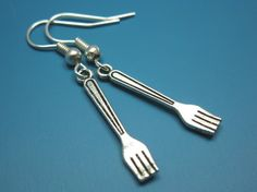 Tiny Fork Earrings - cute earrings quirky earrings funny earrings cutlery food jewelry rockabilly kawaii earrings miniature funky earrings