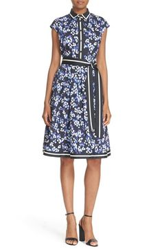 hydrangea print belted cotton shirtdress KATE SPADE NEW YORK  A cap-sleeve shirtdress in a retro-femme fit-and-flare silhouette with a darling hydrangea print gets fresh charm from graphic stripes at the collar, placket and belt.