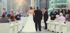 Wedding Ceremony on the Top of the Mystic Blue in Chicago