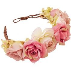 Nora Oversized Floral Crown Headband ($57) ❤ liked on Polyvore