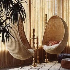 rattan hanging chair design by Nanna Ditzel, Parker Palm Springs lobby, Jonathan Adler Pink Desk Chair, Ikea Chair, Diy Chair, Hanging Egg Chair, Hanging Furniture, Swinging Chair, Wicker Chairs, Eames Chairs, Room Chairs
