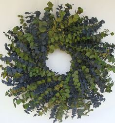 Sage and Blue Eucalyptus Wreath 16 inch by ElegantWreath on Etsy.  I am thinking to use this inside for the smell.