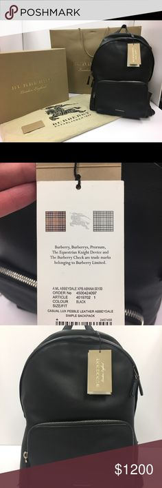 Burberry 'Abbeydale' Leather Backpack JUST REDUCED!!!! BRAND NEW Burberry Abbeydale backpack. Never been carried with original tags… comes w/ original Burberry gift box, gift bag & dust cloth. Perfect for a gift! Regularly retails for $1,595… asking $1,000.   Polished enough for the office but sturdy enough for the commute, this pack is shaped from textured leather and features a spacious interior, exterior pocket., 2 way zip closure, padded, adjustable shoulder straps, interior zip / wall…