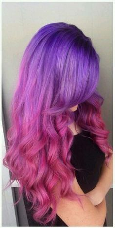 Crazy Hair Styles- Did something just like this with my hair. The pink ran away though so now the bottom is silverish… Cute Hair Colors, Beautiful Hair Color, Hair Color Purple, Hair Dye Colors, Cool Hair Color, Purple Ombre, Purple Rose, Pastel Purple, Pastel Hair
