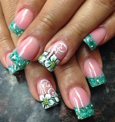 Tropical Flowers by Pinky - Nail Art Gallery nailartgallery.nailsmag.com by Nails Magazine www.nailsmag.com #nailart