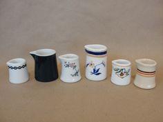 6 lot vintage individual restaurant creamers, varied patterns, heavy china
