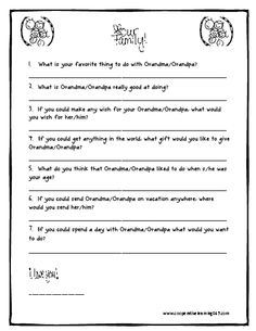I used this for Grandparents Day. My first graders came up with so many cute answers!!! Their grandparents loved it!!