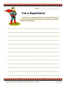 I'm a Superhero | Creative Writing Prompt for 4th and 5th Grade