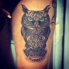 crazy owl tattoo