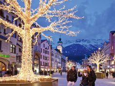 Innsbruck incorporates a variety of activities for both adults and the children, giving an enjoyable Christmas holiday. Christmas in Innsbruck occurs during the winter months and is surrounded by the. Best Christmas Markets, Christmas Markets Europe, Christmas Town, Christmas Travel, Christmas Scenes, Christmas Lights, Christmas Destinations, Innsbruck, Places To Travel